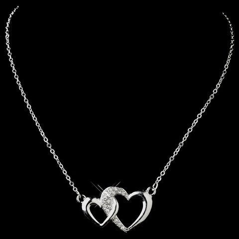 Silver Clear Rhinestone Double Heart Bridal Wedding Necklace 12984
