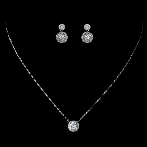 CZ Crystal Pave Crystal Pendent Bridal Wedding Necklace 1651 & Petite Pave Solataire Double Drop Earrings 7406 Bridal Wedding Jewelry Set