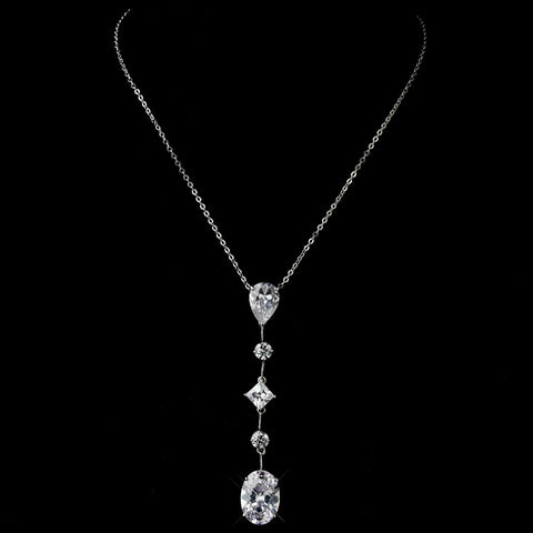 Silver Clear Multi Cut CZ Stone Bridal Wedding Necklace 1652 & Bridal Wedding Earrings 2088 Bridal Wedding Jewelry Set