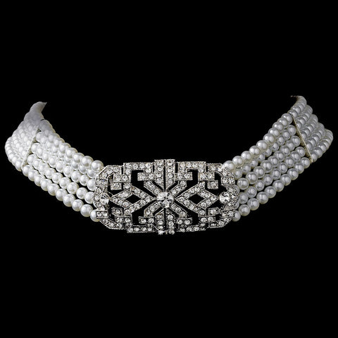 Silver Ivory Pearl Bridal Wedding Necklace Choker N 227