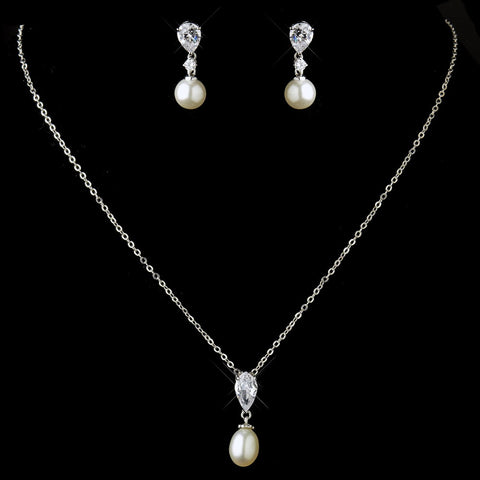 Antique Silver Pearl CZ Bridal Wedding Necklace 2501 & Earrings 3889 Bridal Wedding Jewelry Set