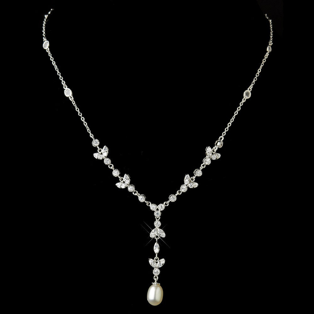 Antique Silver Clear Cubic Zirconia & Freshwater Pearl Bridal Wedding Necklace 2508