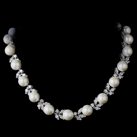 Silver Diamond White Pearl Bridal Wedding Necklace 2592 Bridal Wedding Earrings 5152 Bridal Wedding Jewelry Set