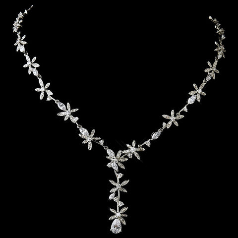 Antique Silver Clear CZ Crystal Floral Bridal Wedding Necklace 2621 & Bridal Wedding Earrings 5265 Bridal Wedding Jewelry Set