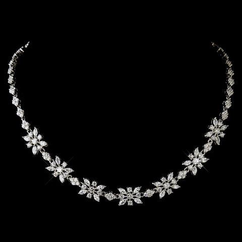 Antique Silver Clear CZ Stone Bridal Wedding Necklace 2626 & Bridal Wedding Earrings 5215 Bridal Wedding Jewelry Set
