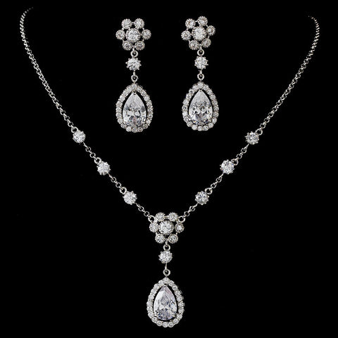 Bridal Wedding Necklace Earring Set N 2724 E 3091 Silver Clear