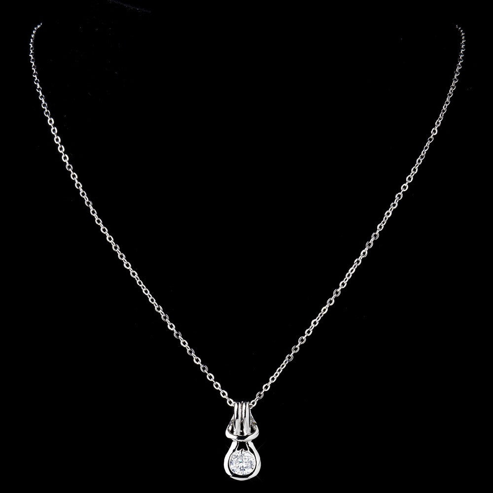 Antique Silver Clear CZ Crystal Bridal Wedding Necklace 2742