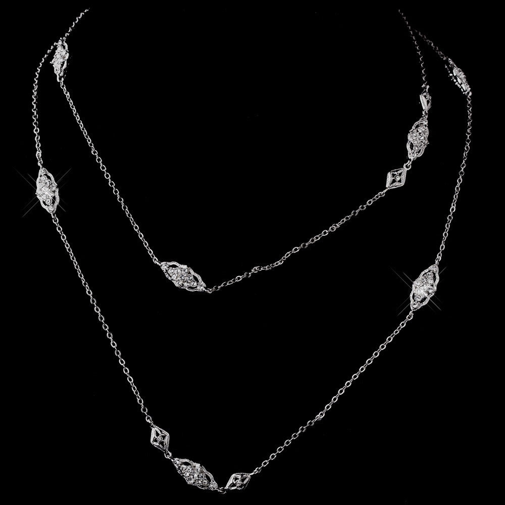Antique Silver Clear CZ Bridal Wedding Necklace 3017