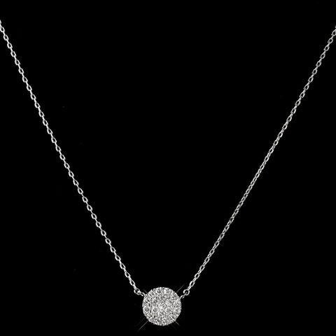 Rhodium Clear CZ Crystal Pave Round Circle Pendent Bridal Wedding Necklace 3505
