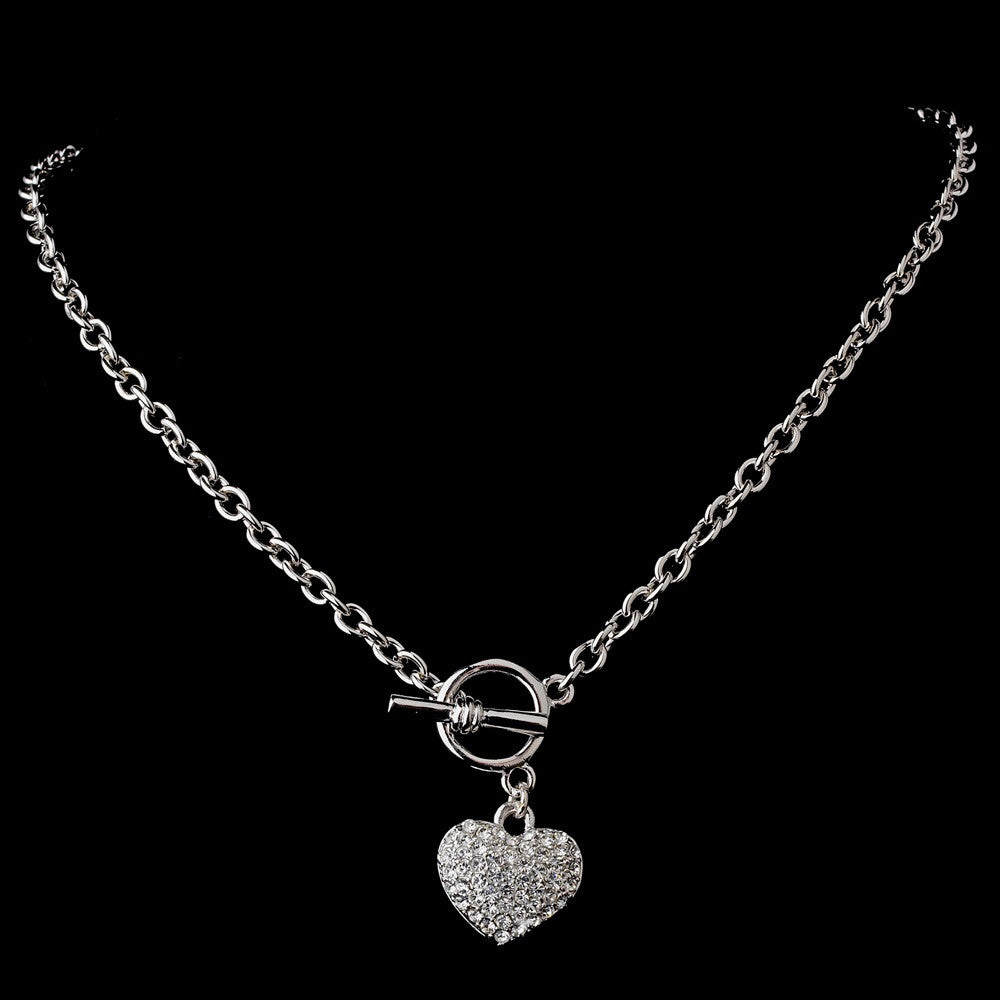 Antique Silver Clear Heart Bridal Wedding Necklace N 3843