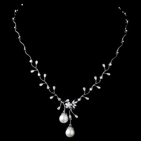 Antique Rhodium Silver Clear CZ Crystal & Diamond White Pearl Drop Bridal Wedding Necklace 3870