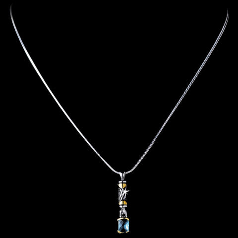 Stunning Silver Designer Inspired Light Blue Crystal Pendant Bridal Wedding Necklace 4082