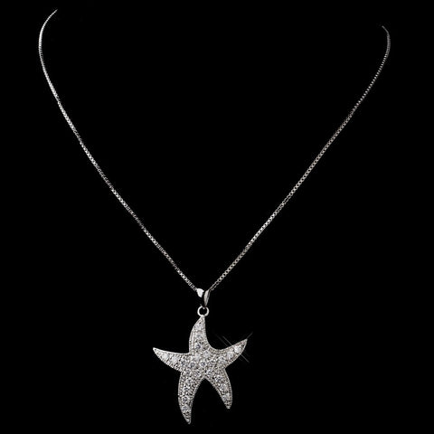 Antique Silver Clear Cubic Zirconia Starfish Bridal Wedding Necklace N 5008