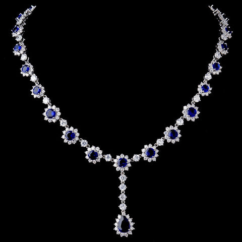 Silver CZ Crystal and Sapphire Stone Bridal Wedding Necklace 5063 & Earrings 5560 Bridal Wedding Jewelry Set