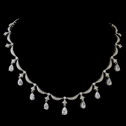 Antique Silver Clear Pear Cut CZ Bridal Wedding Necklace 5113 & Bridal Wedding Earrings 5559 Bridal Wedding Jewelry Set