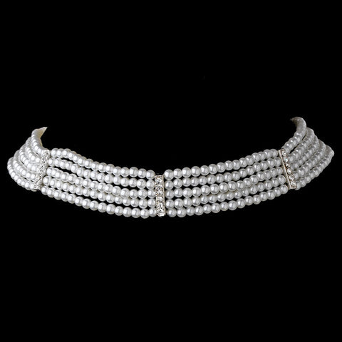 5 Row Choker Pearl Bridal Wedding Necklace N 602 Silver Ivory