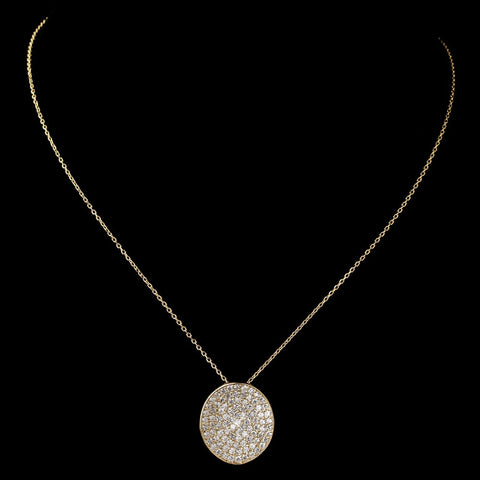 Gold Clear Rhinestone Circle Pendant Bridal Wedding Necklace 6042