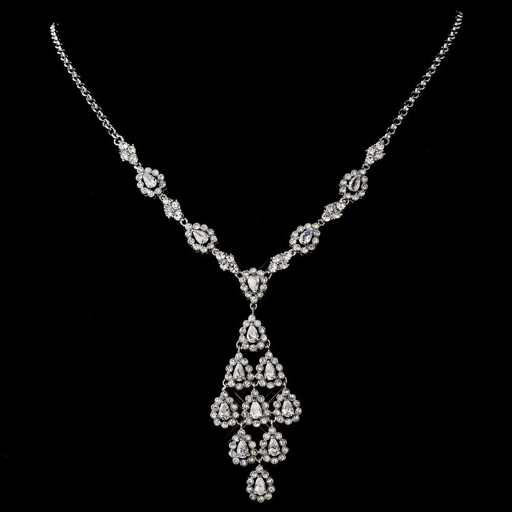 Antique Silver Clear CZ Crystal Chandelier Drop Bridal Wedding Necklace 6526 and Bridal Wedding Earrings 6662 Bridal Wedding Jewelry Set