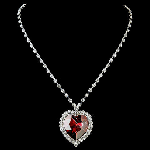 Silver Red Crystal Heart Bridal Wedding Necklace 71245