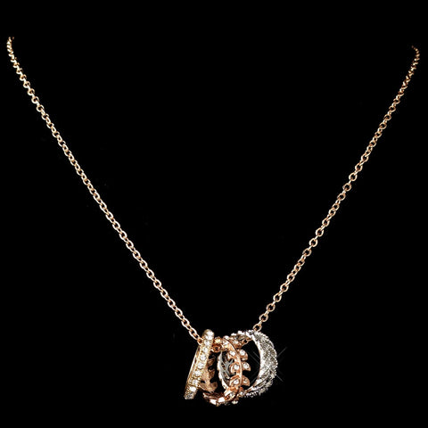 Rose Gold Bridal Wedding Necklace 76003 w/ Bridal Wedding Rings