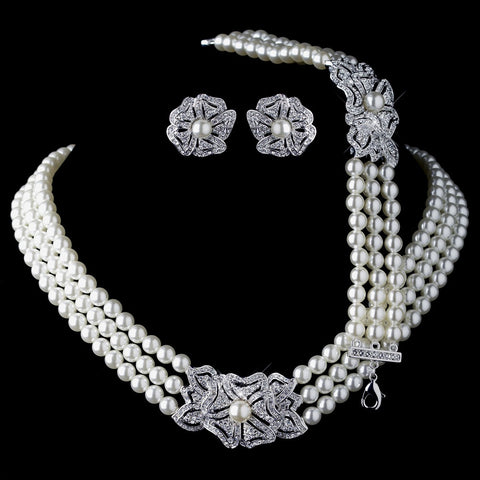 Rhodium Ivory Pearl & Rhinestone Bridal Wedding Necklace 76010, Earrings 76012 & Bracelet 76011 Vintage Floral Jewelry Set