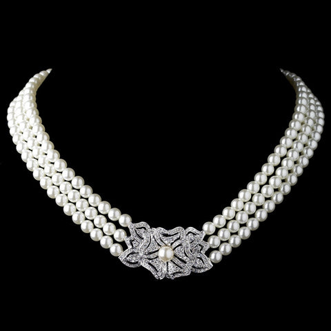 Rhodium Ivory Pearl & Rhinestone Vintage Floral Bridal Wedding Necklace 76010