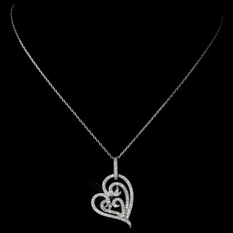 Antique Rhodium Silver Clear Micro Pave Encrusted Heart Pendent Bridal Wedding Necklace 7724