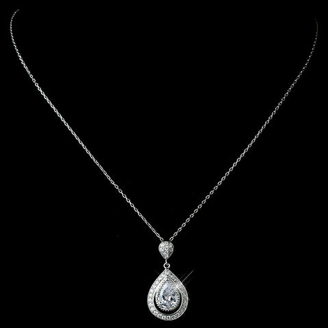 Rhodium Clear CZ Crystal Teardrop Pendent Bridal Wedding Necklace 7725