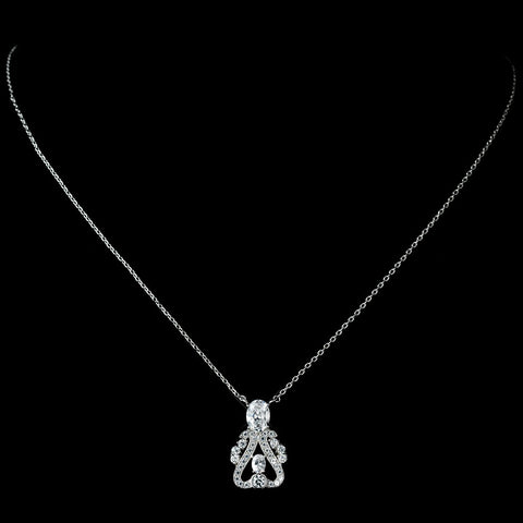 Antique Rhodium Silver Clear Vintage CZ Crystal Drop Pendent Bridal Wedding Necklace 7728