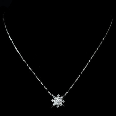 Antique Rhodium Silver Clear Snowflake Encrusted Pendent Necklace & Petite Snowflake Drop Earrings Bridal Wedding Jewelry Set 7737