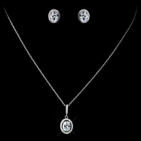 Antique Rhodium Silver Clear Oval Pendent Drop Bridal Wedding Necklace 7738 & Oval Pave Encrusted Stud Earrings 7739 Jewelry Set