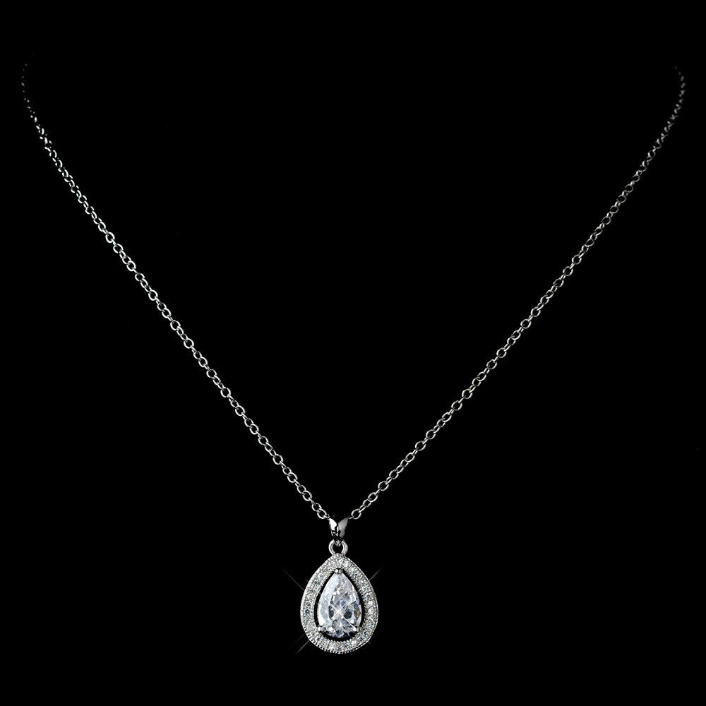Antique Rhodium Silver Clear CZ Crystal Teardrop Pendent Necklace & Teardrop Leverback Dangle Bridal Wedding Jewelry Set 7740