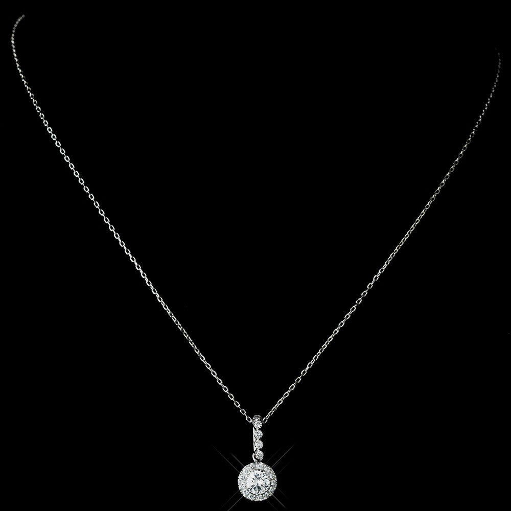 Antique Rhodium Silver Clear CZ Crystal Round Pave Encrusted Pendent Bridal Wedding Necklace 7741
