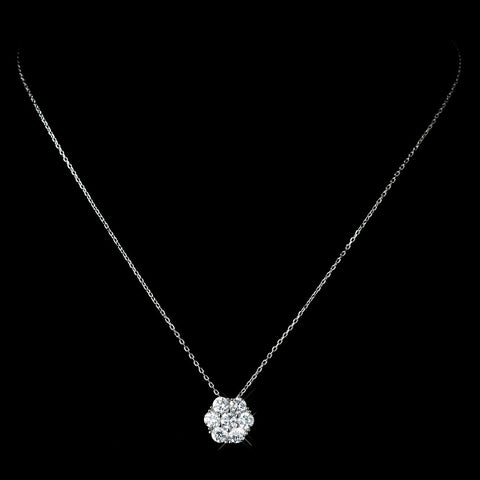 Antique Rhodium Silver Clear CZ Crystal Flower Encrusted Cluster Pendent Bridal Wedding Necklace 7742