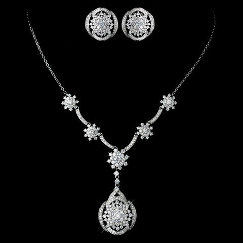 Antique Rhodium Silver Clear CZ Flower Crystal