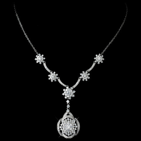 "Antique Rhodium Silver Clear CZ Flower Crystal ""Great Gatsby"" Inspired Bridal Wedding Necklace Drop Bridal Wedding Necklace & Stud Earrings Jewelry Set 7743"
