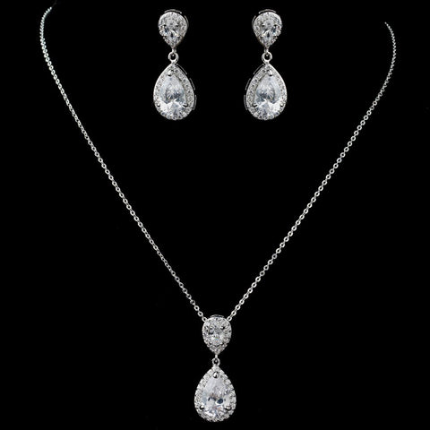 Rhodium Clear CZ Teardrop Pendant Bridal Wedding Jewelry Set 7761