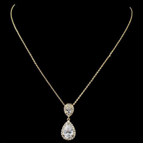 Gold Clear Pave CZ Teardrop Pendant Bridal Wedding Necklace 7761