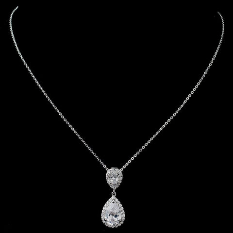 Rhodium Clear Pave CZ Teardrop Pendant Bridal Wedding Necklace 7761