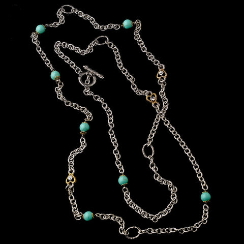 "Silver Aquamarine 60"" Bridal Wedding Necklace w/ Gold Hearts 7986"