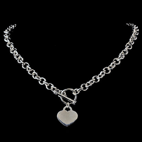 * Heart Toggle Bridal Wedding Necklace N 8004