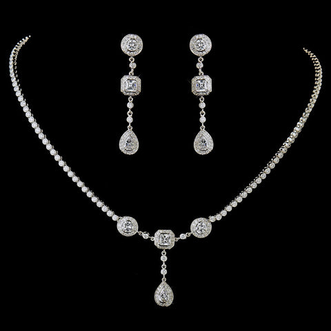 Antique Silver Clear Multi Cut CZ Stone Bridal Wedding Necklace 8103 & Bridal Wedding Earrings 8106 Bridal Wedding Jewelry Set