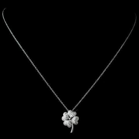 Gorgeous Silver Clear Pave CZ Four Leaf Clover Charm Bridal Wedding Necklace 8111