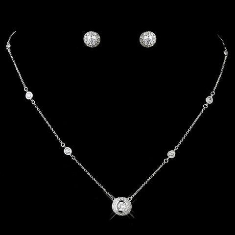 Antique Silver Clear CZ Crystal Bridal Wedding Necklace 8112 & Earrings Bridal Wedding Jewelry Set 3553