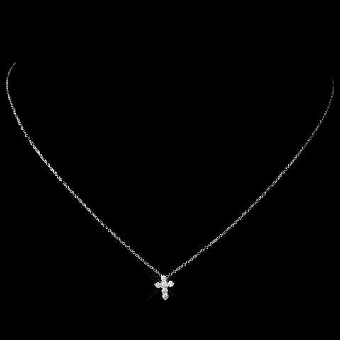 Charming Silver Clear CZ Holy Cross Bridal Wedding Necklace 8113