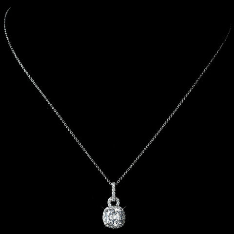 Antique Rhodium Silver Clear CZ Crystal Pendent Bridal Wedding Necklace 8114 & Cushnet Teardrop Pave Encrusted Drop Earrings 2900 Jewelry Set