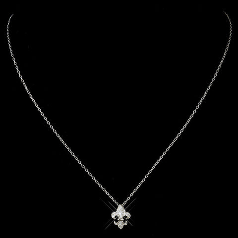 Antique Silver Clear French Inspired Fleur De Lis Bridal Wedding Necklace 8120