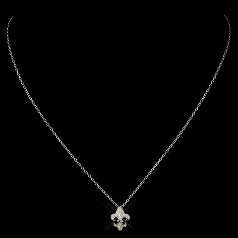 Silver Clear Fleur De Lis Rhinestone Bridal Wedding Necklace 8120 & Earrings 9249 Bridal Wedding Jewelry Set