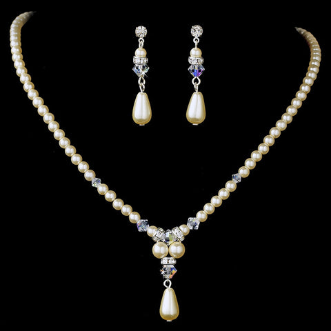 Elegant Silver Pearl & AB Crystal Bridal Wedding Necklace & Earring Set 8151
