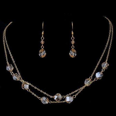 Bridal Wedding Necklace Earring Set NE 8268 Gold Light Brown